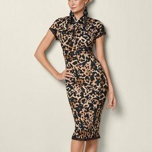 Venus Leopard Print Bodycon Dress Lace Detail